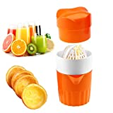 grapefruit manual juicer - Hand Juicer Citrus Orange Squeezer Manual Lid Rotation Press Reamer for Lemon Lime Grapefruit with Strainer and Container, 2cups