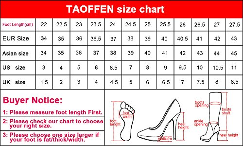TAOFFEN Zipper Fashion Women's With White Booties Boots r7nSrxwqT