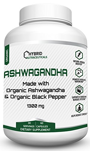 Organic Ashwagandha Capsules, Thyroid Support Supplement, Adrenal Fatigue Supplements, Anti Anxiety Supplements, Reduces Stress, Depression Supplements - 60 Ashwaganda Powder Capsules