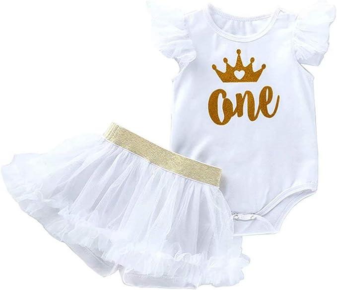 BabyPreg b/éb/é Fille Manches Longues 1er Anniversaire Tutu Tenue Robe Bandeau