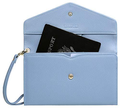 Krosslon Rfid Travel Passport Wallet for Women Slim Holder Wristlet Document Organizer, 12# Denim Blue