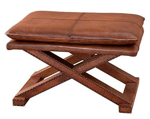 Casa Padrino Luxus Echt Leder Hocker Tobacco Braun mit Nieten - Leder Möbel