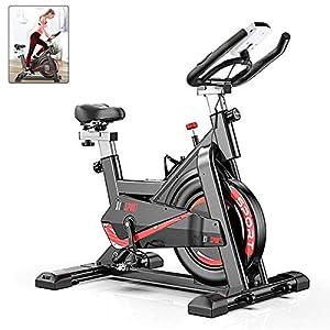 51b07IgcibL. SS300 AJUMKER cyclette da interni con manubrio regolabile e sellino per allenamento a casa, con resistenza, funzione frequenza cardiaca, display LCD, 149,7 kg