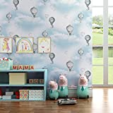 Kids room Non-woven wallpaper,Hot air balloon Girl Boy Bedroom Cartoon Environmental protection Wallpaper-D 0.53m10m(20.8x393.7inch)