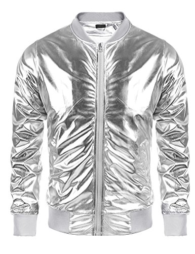 Jinidu Men's Metallic Jacket Nightclub Style Baseball Varsity Bomber Flight Coat - Kanye West Costume Halloween