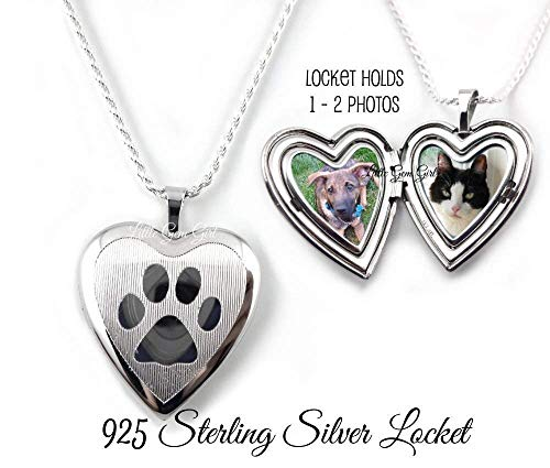 - Sterling Silver Pet Locket personalized with your Photos - Paw Print Heart Locket Necklace - In Memory Memorial Jewelry with Engraved Name on Back