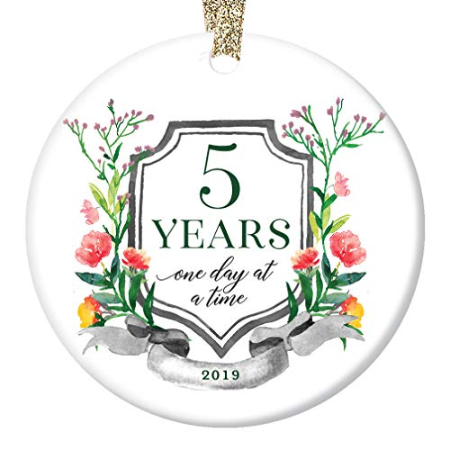 5 Years Sober Ornament Sobriety Gift Milestone Christmas 2019 Fifth Anniversary Ceramic Collectible Celebrating Five Clean Man Woman in Recovery 3