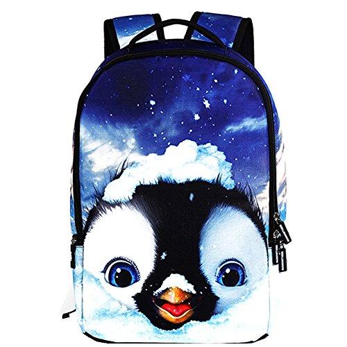 TOMATO-smile - Bolso mochila  de poliéster para mujer multicolor flores pingüino