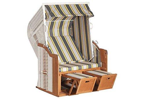 Sunny Smart Strandkorb Rustikal 250 Basic Stoff-Nr. 620, Halbliegemodell Außenmaß (B x T): 125 x 90 cm Gesamthöhe: 160 cm Geflecht: Kunststoffgeflecht weiß Ausführung: Halbliegemodell Stoff: Nr. 620, grau-gelb gestreift