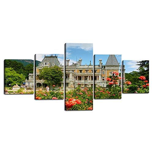 (5 Piece Wall Art Massandra Palace of Emperor Alexander 3 on the Southern Coast of Crimea Canvas Painting Print Home Decor Blue Sky Picture Poster Artwork for Bedroom Framed Ready to Hang (50