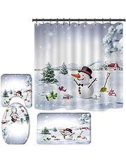 SUNGFINE 4 PCS Christmas Bathroom Decorations Set Toilet Seat Cover Rug Shower Curtain Sets Snowman Snow Scene Bathroom Décor (Type A8)