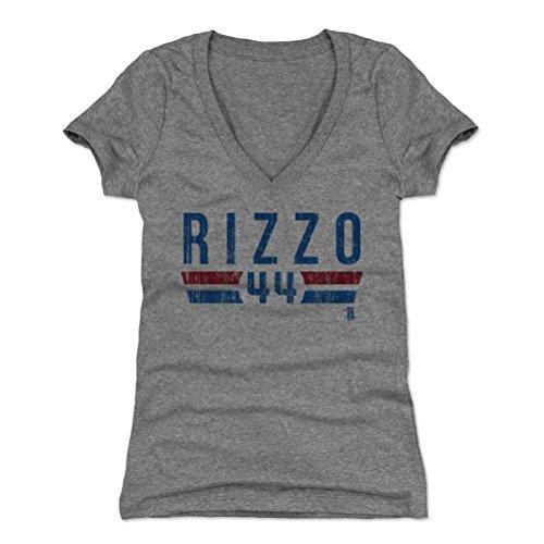 500 LEVEL Anthony Rizzo Women's V-Neck Shirt Small Tri Gray - Chicago Baseball Women's Apparel - Anthony Rizzo Font B