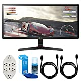 LG 34UM68-P 34' UltraWide IPS Gaming Monitor w/ FreeSync + Accessories Bundle Includes, Transformer Tap USB w/ 6-Outlet Wall Adapter & 2 Ports, 2x 6ft. HDMI Cable & LED TV Screen Cleaner