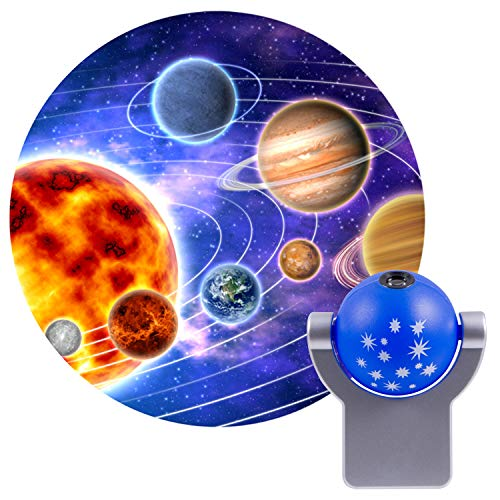 Projectables 11789 LED Plug-In Night Light, Blue and Silver, Light Sensing, Auto On/Off, Projects the Solar System Featuring Mercury, Venus, Earth, Mars, Saturn and Neptune on Ceiling, Wall, or Floor
