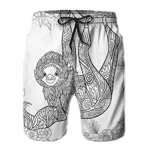 Men Swim Trunks Beach Shorts,Outline Drawing of Sloth in Jungle Zoo Animal with Ornamental Details and Flowers XXL (Best Zoo In France)