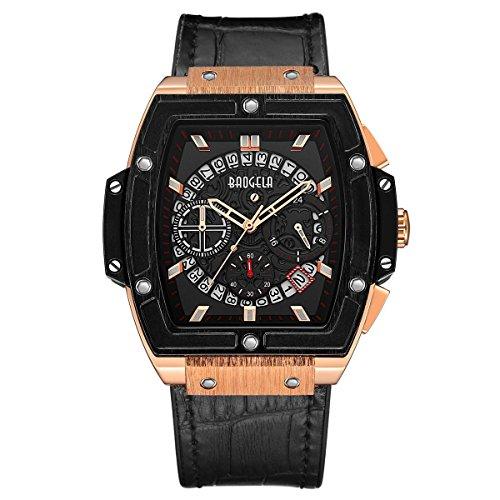 Mens Watches BAOGELA Luxury Fashion Casual Dress Chronograph Waterproof Military Quartz Wristwatches for Men Leather Strap Gold Black (Black Rose)