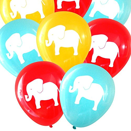 Carnival/Circus Elephant Balloons (16 pcs) by Nerdy Words (Red, Aqua, (Carnival Themed 1st Birthday)