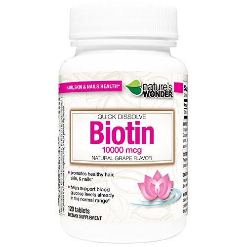 Nature's Wonder Biotin 10000mcg Quick Dissolve Tablets, 120 Count