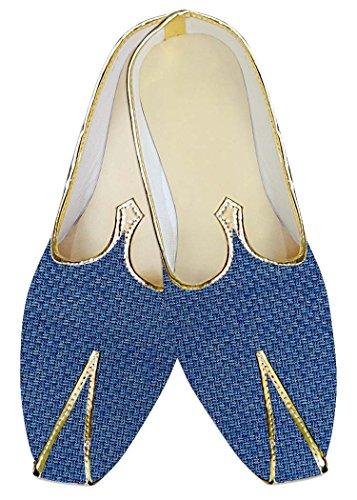 INMONARCH Mens Steel Blue Jute Wedding Shoes MJ014216 l40XaM