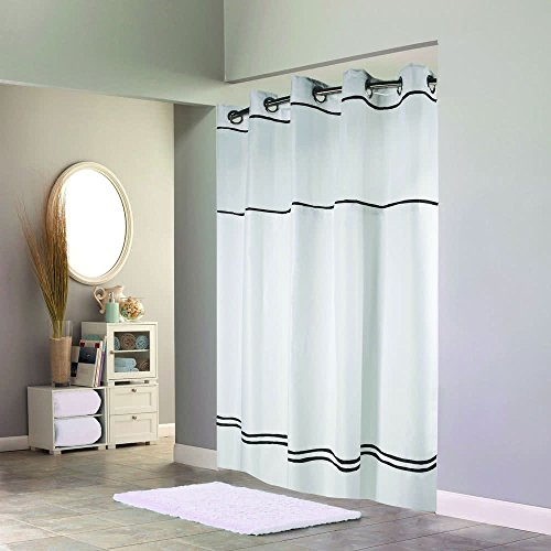 Hookless Monterey Hotel Quality Shower Curtain with Snap in Liner - White with Black Stripe, 71 IN. X 77 (3 Stripe Shower Curtain)