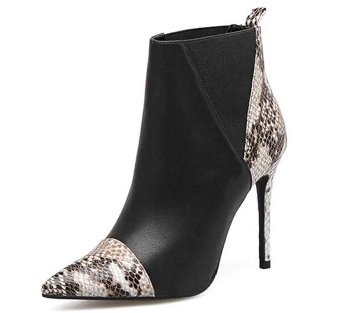 Frauen Schuhe Leder Winter Leder Schuhe Casual Chelsea Stiefeletten Slip-On Pfennigabsatz Spitz Party & Abend Büro Dance Schwarz Größe35To40 , schwarz , 41 - 623eda