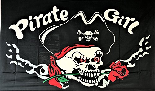MWS 3x5 Pirate Girl Rose Flag Super Polyester Nylon Flag 3'x5' House Banner 90cm x 150cm Grommets Double Stitched Premium Quality Indoor Outdoor Pole Pennant (New) ()