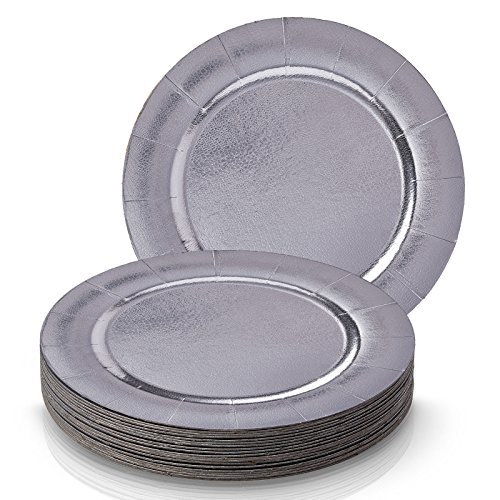 Party Disposable 20 pc Round Charger Set | 20 Charger Dinner Plates | Heavyweight Paper Plates | Elegant Metallic Silver Finish | for Upscale Wedding and Dining (Charger Collection– Metallic/Silver
