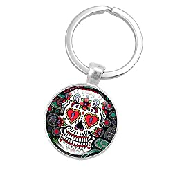 Fan-Ling Skeleton Skull Time Gemstone Gem Metal Key Holder, Keychain,Key Ring, Key Chains,Cell Phone Chain,Halloween Pendant,Bag Pendant Car Accessory,Mystic Decor Ornaments (C)