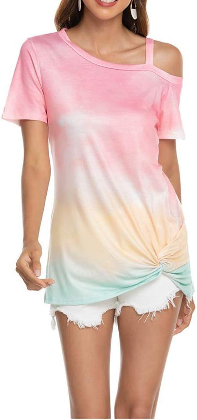 Explosive Print Gradient Gradient Hombro Manga Corta Dobladillo Retorcido Camiseta Mujer: Amazon.es: Ropa y accesorios