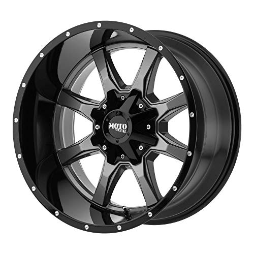 MOTO METAL MO970 Gray Center Gloss Black Lip Wheel Chromium (hexavalent compounds) (18 x 9. inches /5 x 110 mm, 18 mm Offset) (24 Inch Rims Dodge Ram 1500)