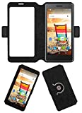 Acm SVIEW Window Designer Rotating Flip Flap Case for Micromax Bolt Q332 Mobile Smart View Cover Stand Black