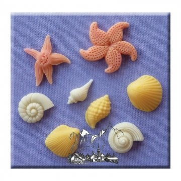 Shells & Starfish - Silicone Icing Moulds for Cake and Cupcake - Shell Sugar