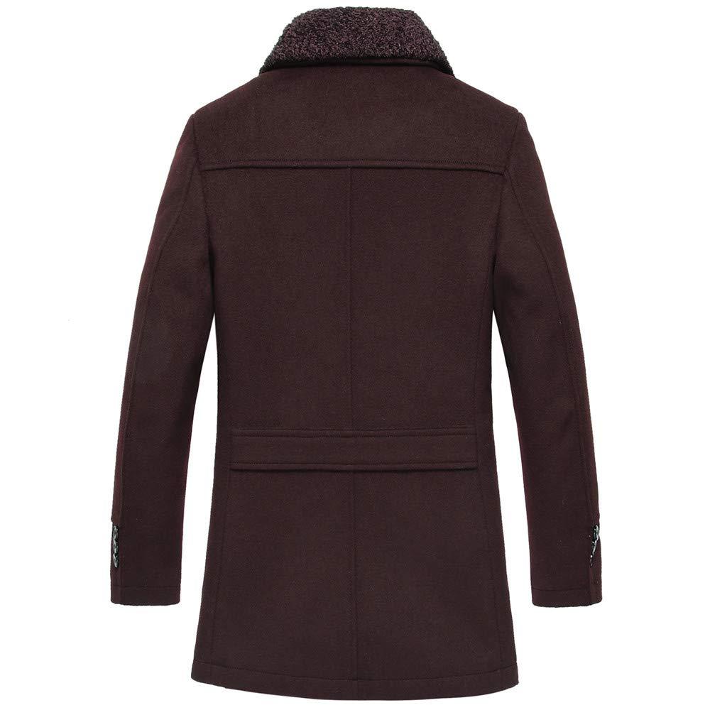 SHUDAGE Mens Windbreaker Winter Warm Medium Length Woollen Jacket Thickened Single Breasted Detached Coat