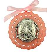 Moulded Crib Medal with Guardian Angel for Baby Nursery Room Decor, 3 1/4 Inch (Pink)
