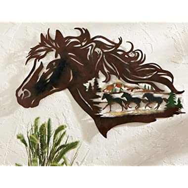 Western Country Racing Horse Metal Shadow Wall Hanging Art Decor Running Wild Horses Mustang Stallion Home Accent Plaque Decoration