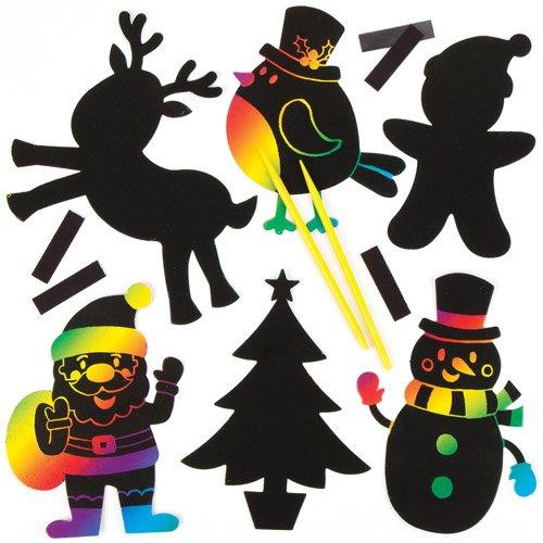 Baker Ross Aimants de Noël à gratter (Lot de 10) – Activité créative de Noël pour Enfant