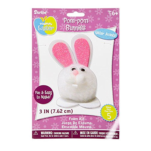 Foamies Easter Crafts for Kids - White Pom Pom Easter Bunny Craft Kit (Pack of 3) (Easter Bunny Crafts)