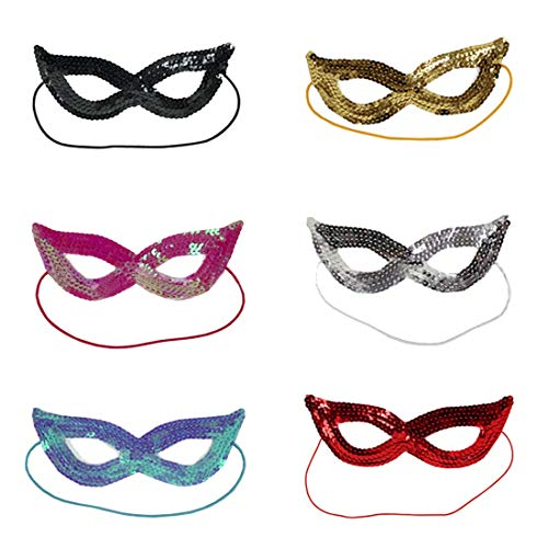 Party Masks - Halloween Sequins Eye Mask Bright Color Venetian Carnival Masquerade Party Decoration Random - Holloween Sticks On Adults And Props Masquerade Photo Men 100 ()