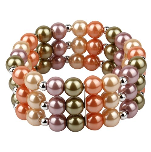 Multi Color Three Row Glass Pearl Stretch Bracelet