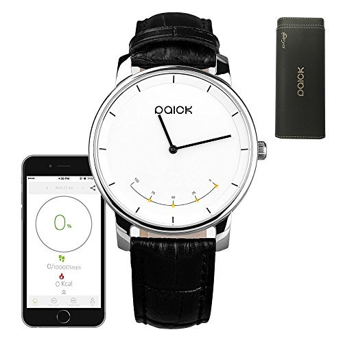 Smart WatchJoyGeek Paick Bluetooth Watch Fashion Wristwatch 2-in-1 Strainless Steel CaseSapphire GlassLeather Starps with Bluetooth 4.03ATM WaterproofActivity TrackerCall Remind For iOS 7 Apple iPhone 6Plus654 and Android 4.3 Smartphones(Black)