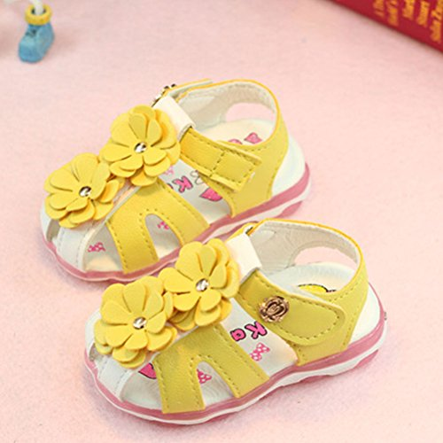 Zhhlaixing Baby Girls Kids Toddler Hollow Flowers Sandals Lighted Soft-Soled Princess Shoes Summer Shoes Yellow