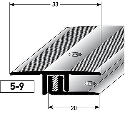 Ü bergangsprofil Aluminium, 2-teilig - 100cm, 5-9mm (bronze hell) ✓ Rutschhemmend ✓ Kratzfest | Ü bergangsleiste fü r Teppich-Boden, Laminat & Parkett | Alu-Ü bergangsschiene, Bodenprofil zum Schrauben acerto