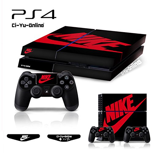 Ci-Yu-Online VINYL SKIN [PS4] Whole Body VINYL SKIN STICKER DECAL COVER Nike Air Jordan 1 Retro Black Red Logo Shoe Box for PS4 Playstation 4 System Console and Controllers