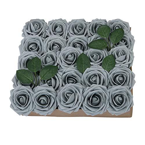 YINGSHENG Fake Roses Grey 25pcs Real Looking Flowers Artificial Rose w/Stem