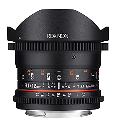 Rokinon Cine DS 12mm T3.1 Ultra Wide Cine Fisheye Lens - Full Frame Compatible from AMZN9