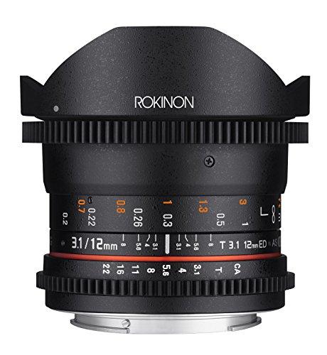Rokinon Cine DS 12mm T3.1 Ultra Wide Cine Fisheye Lens for Sony Alpha A Mount DSLR Cameras - Full Frame Compatible