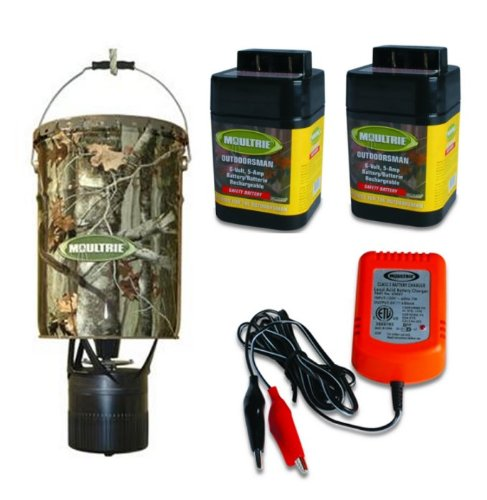 MOULTRIE MFH-EP 6.5 Gallon Econo Plus Hanging Deer Feeder + 6V Batteries/Charger