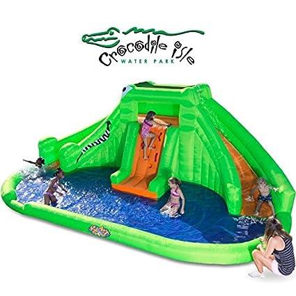3de6c7aa8b8ae1 Amazon.com  Blast Zone Crocodile Isle Inflatable water Park with Dual Slides  by Blast Zone  Toys   Games