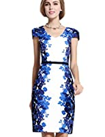 LImited Women's Floral Printed Short Sleeve Office Sheath Dress