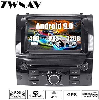 ZWNAV Andriod 9.0 Estéreo para automóvil Navegación por GPS para Peugeot 407 2004-2010 Soporte para Europa 49 CD de mapeo de país DVD Dab + WiFi Pantalla táctil de 7